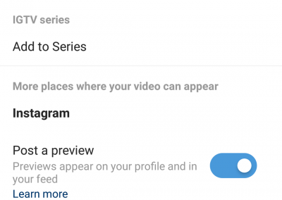 A screenshot of the title, description and sharing options for IGTV on mobile