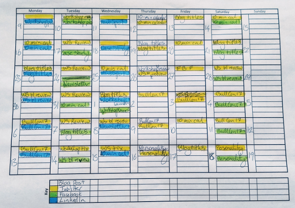 The Whin content calendar template
